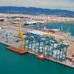 Aerial view of the multi-purpose maritime terminal Intersagunto Terminales.