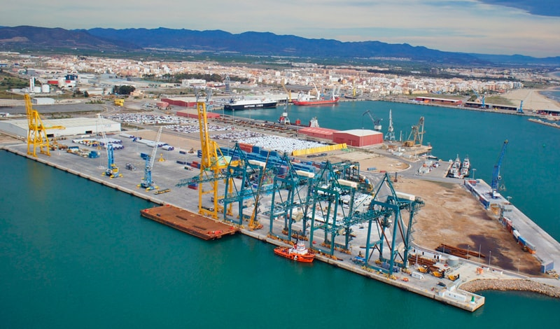 Aerial view of the multi-purpose maritime terminal Intersagunto Terminales.
