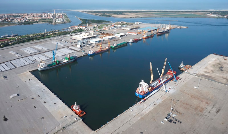 Aerial view of the maritime terminal of Aveiro (Portugal).