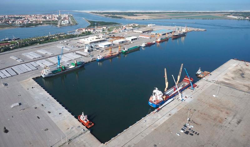 Aerial view of the maritime terminal of Aveiro (Portugal).