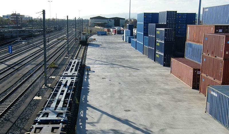 Outside view of the intermodal facilities in Barcelona (Can Tunis)