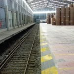 Mixed-width roads in the interior of the Barcelona intermodal platform (Can Tunis).