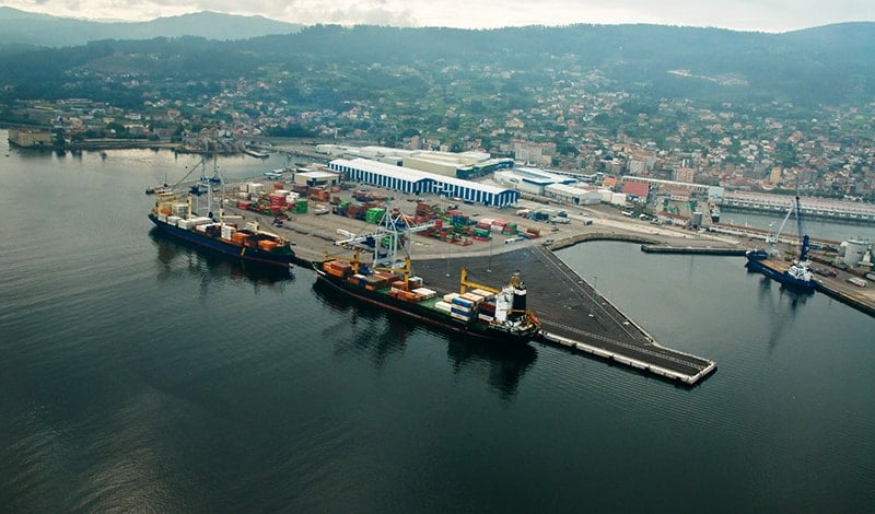Aerial view of the maritime terminal of Marín (Galicia).