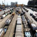 Train tracks in the intermodal facilities in Barcelona (Can Tunis)