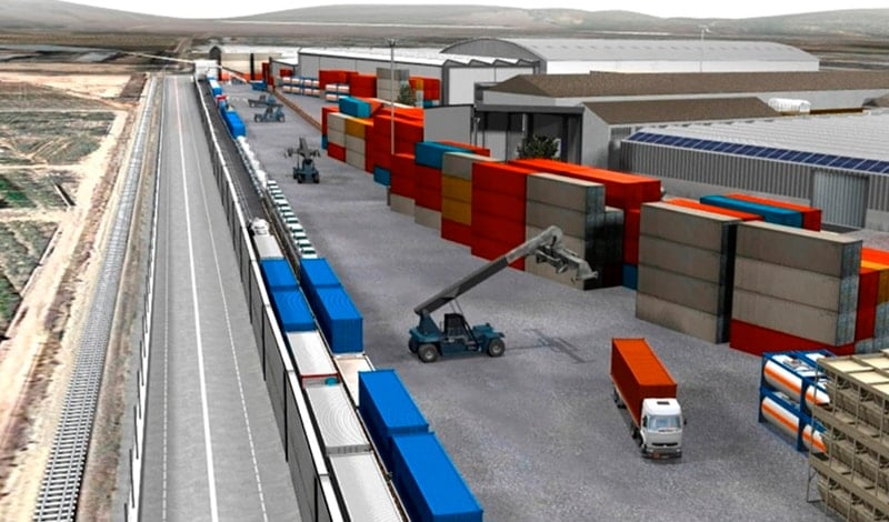 Recreation of the future intermodal connection with the railway in Setemar Valencia.