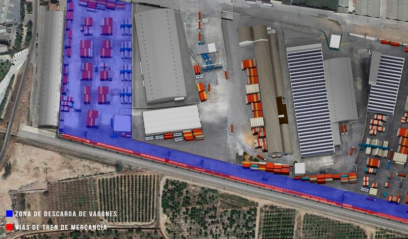 Virtual recreation of the rail connection in Setemar Valencia.