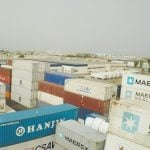 Aerial view of the containers depot in Setemar Valencia.