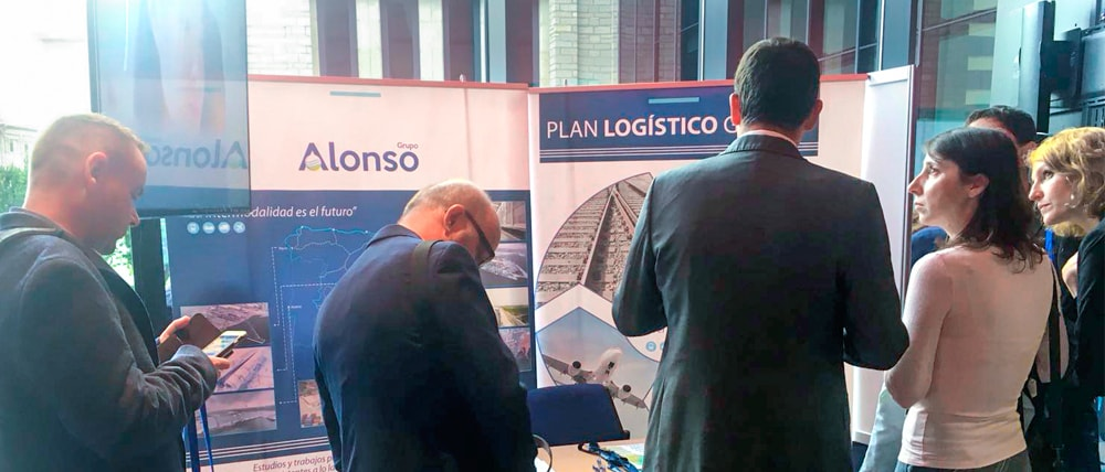 "Alonso Group's information stand under the slogan ""Global Logistics Plan"""