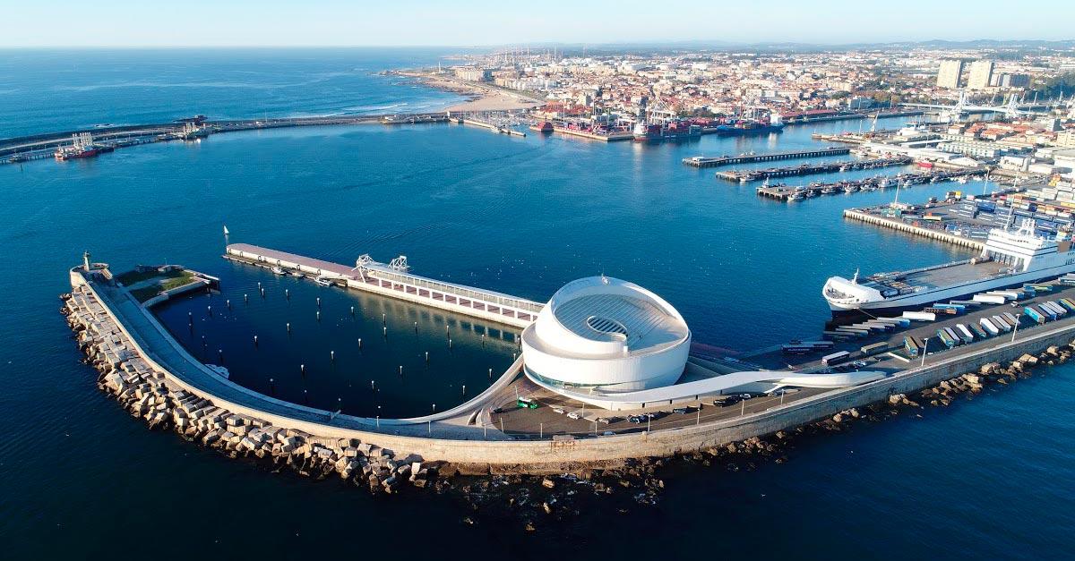 Imagen aérea del puerto de Leixões, uno de los más importantes de Portugal.