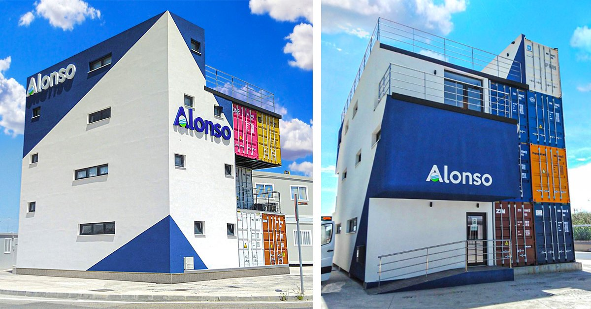 Exterior of the building of the Alonso Group's land transport division.