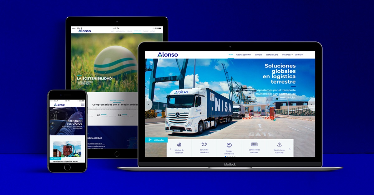 The new website details Transportes Alonso's services and offers numerous utilities.